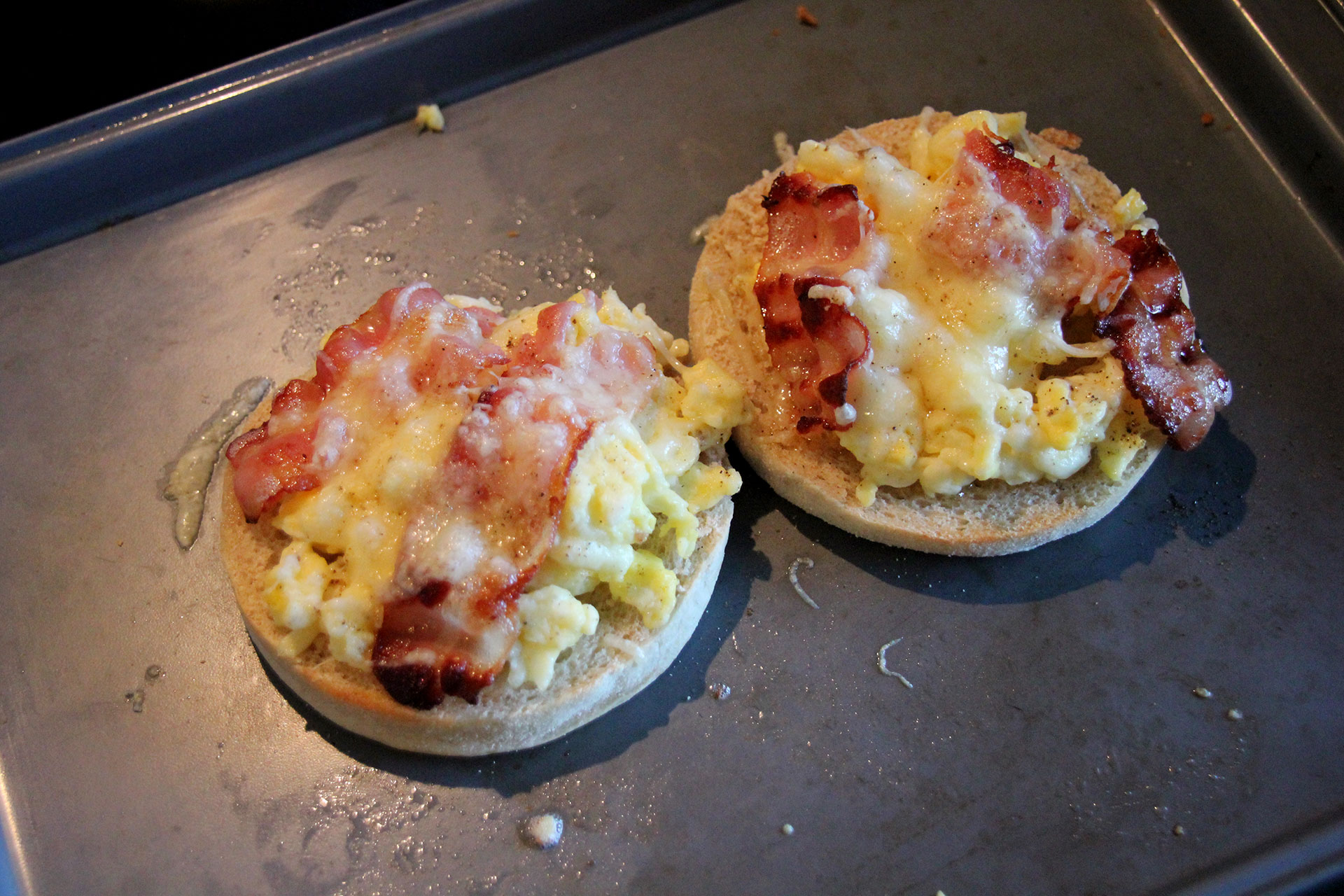 Grilled cheese bacon and scrambled egg muffins