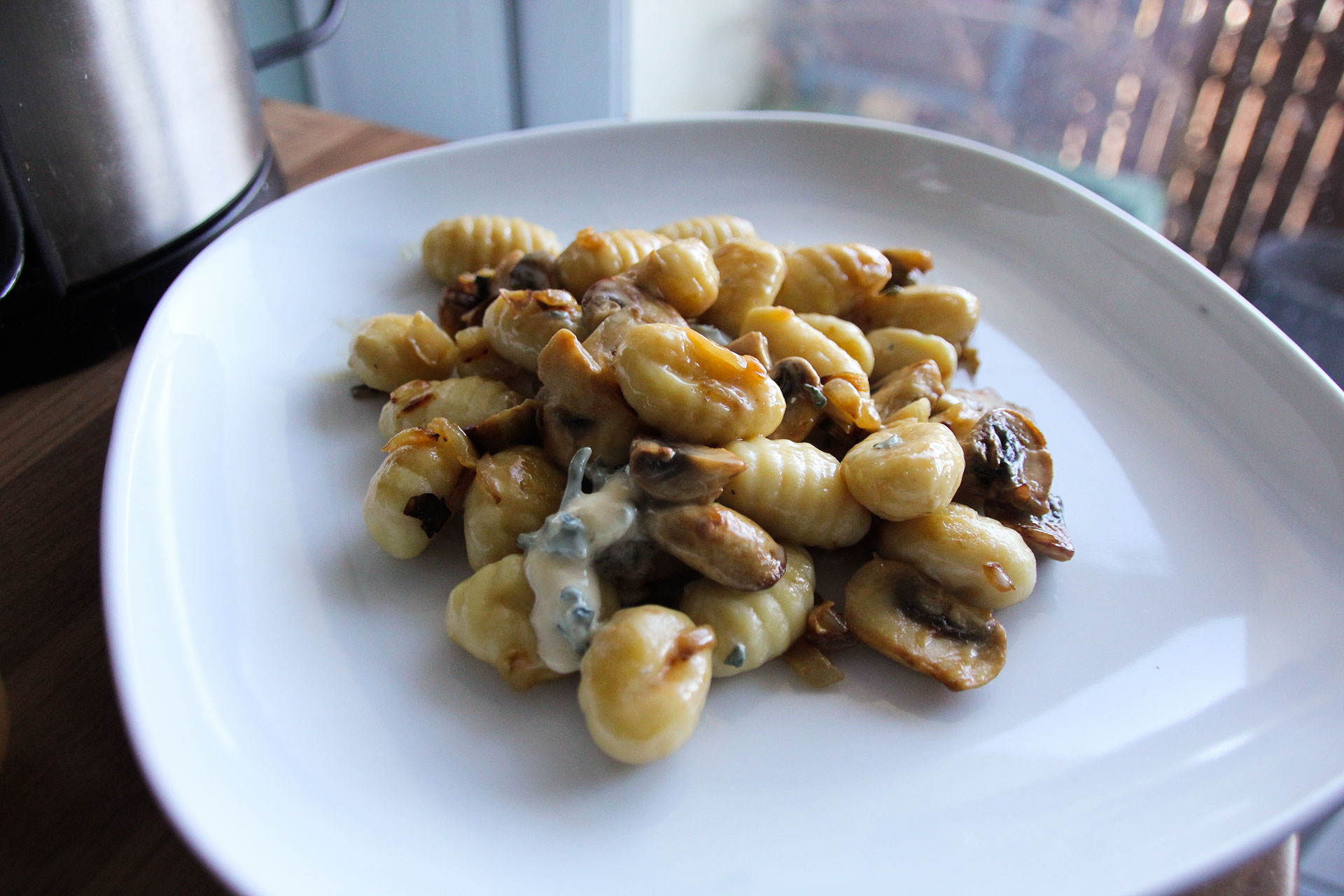Gnocci with blue cheese and mushroom