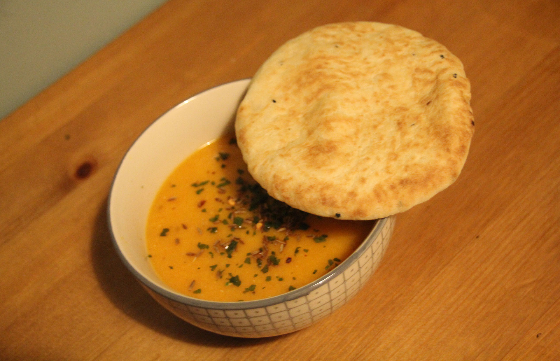 Spicy Carrot and Lentil Soup with Naan