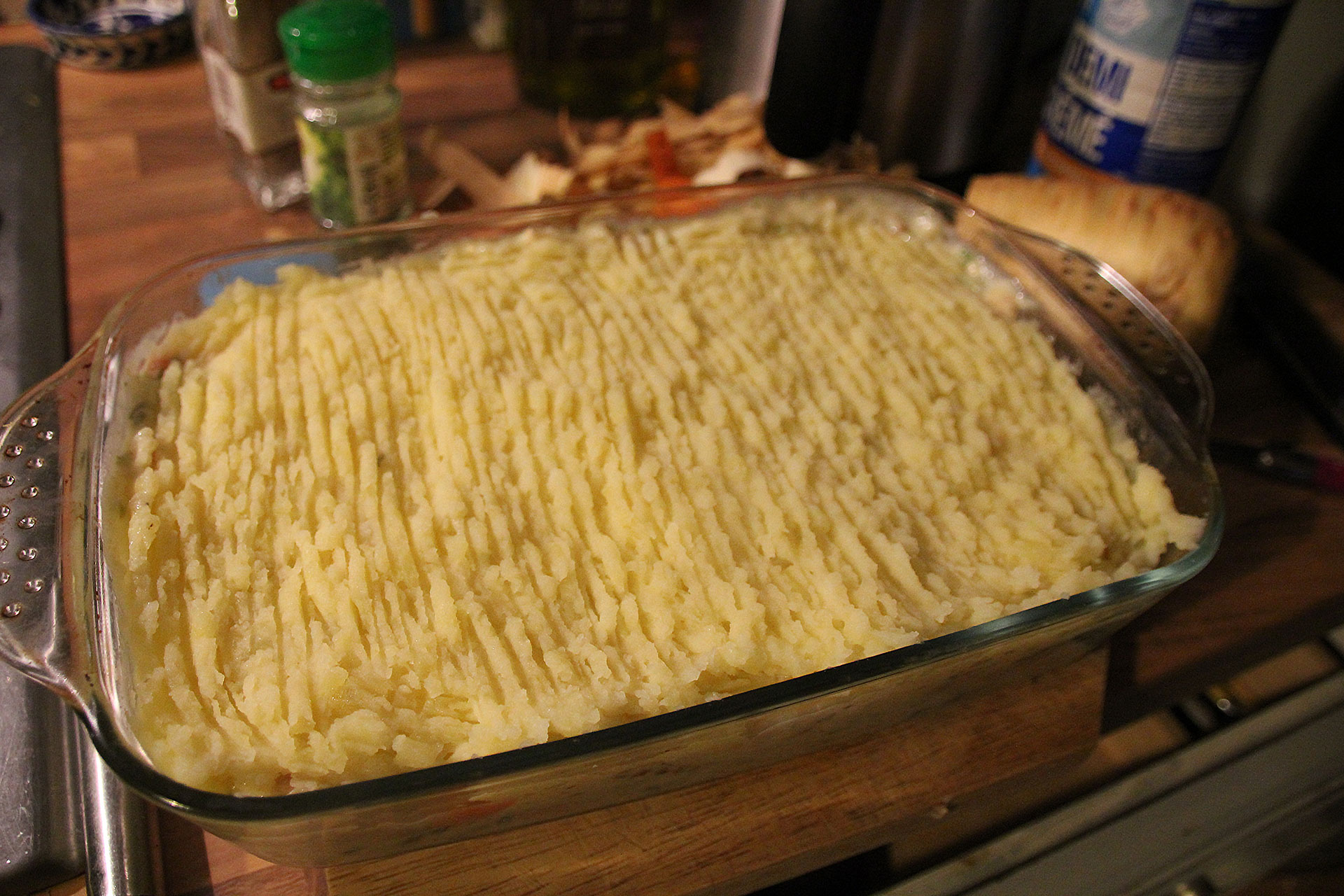 Uncooked fish pie